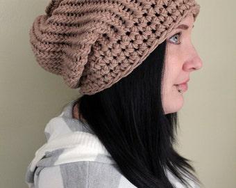 Tan Super Slouch Hat - Made to Order  - Crochet Hats by Julian Bean