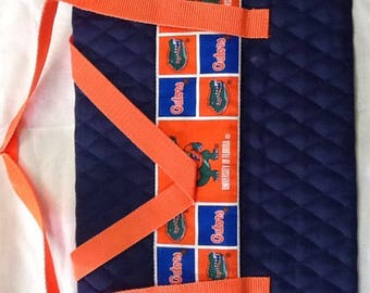 IPad tote, notebook , orange, blue, quilted, Florida