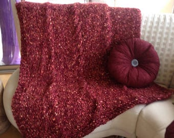 Plaid Burgundy knit mesh with cables, handmade