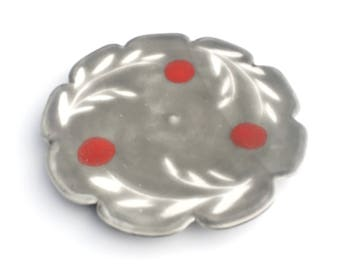 Handmade Sroneware Dessert Plate// Breakfast Plate in Warm Gray with Ted Dots