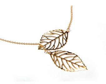 18K Gold Plated Double Leaf Drop Lariat Necklace  / Gold Leaf Drop Necklace