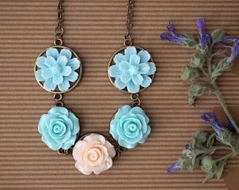 Light Blue Necklace Ivory Rose Flower Necklace Blue Rose Necklace Blue Ombre Necklace Baby Blue Necklace Sky Blue Statement Necklace for Her