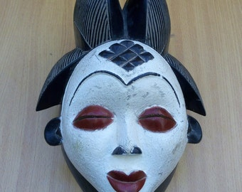 Punu wooden mask,Traditional mask,kenya wooden mask, Antique mask, Old traditional mask, Africa wooden mask, wooden mask