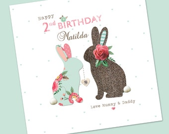 Personalised, handmade, Cute Bunny milestone age card