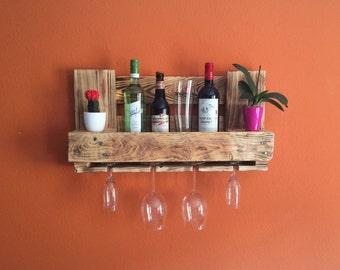 Pallet rack wine rack bar flamed Europallet pallet furniture vintage shelf