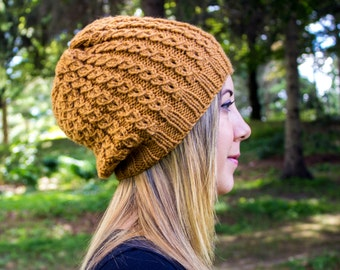 Mustard Slouchy Knit Hat - Gold Vegan Hat - Boho Hat - Hipster Hat - Hippie Hat - Womens Tam - Mens Beanie - Handknit - Gift for Her