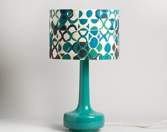 Bell Bottom Teal Table Lamp with Vintage Abstract Shade