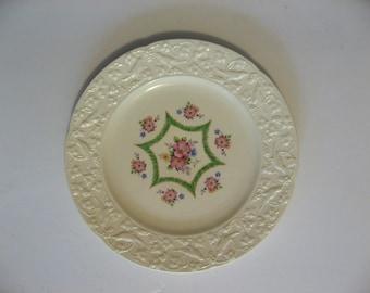 Crooksville China dinner plate. Green Hexagon star embossed edge florals on ivory. & Hexagon dinner plate | Etsy