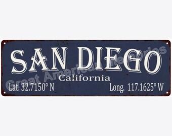 San Diego Latitude & Longitude Black Metal Sign 6x18 6180412
