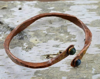 Hand Forged Copper Bracelet with Fire Opals.
