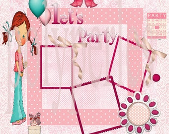 Page scrapbooking digital birthday girl