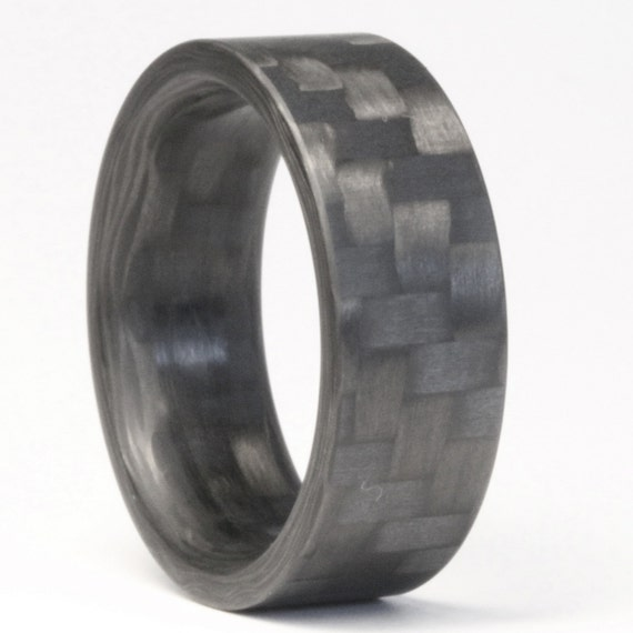 The Racer Twill Carbon Fiber Ring Mens Engagement Ring