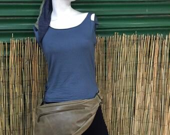 Fanny pack Shoulder bag Hip bag backpack leather handbag/olive green color/adjustable strap/handmade