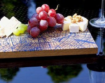 Milano map cheese board - oak wood with blueepoxy resin - NEW handmade gift - small size 20x30cm - free shipping ups