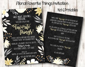 Favorite Things Party Invitation, Floral Design, Neutral Colors, Digital and Printable Personalized Invitation