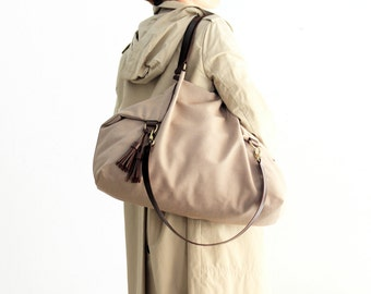 Canvas and leather shoulder bag, made of WATERPROOF technical fabric light brown and leather. Susy shoulder bag