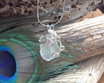 White Sea Glass Necklace - PEI ocean sea glass