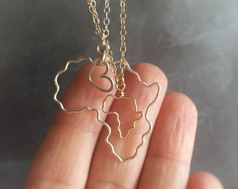 Africa Necklace - Africa Outline Necklace - Gold Africa Necklace - Silver Africa Necklace - Small Africa Necklace - Gift For Her