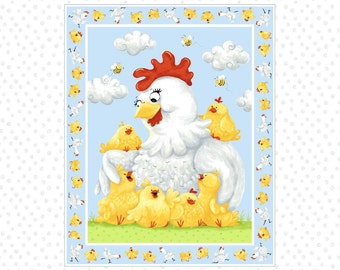 """Susybee Fabric, Chicken Fabric : Pippa the Hen and chicks Quilt Top 100% cotton fabric by the Panel 36""""x43"""" (SB50)"""