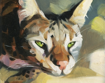 Yoga cat painting portrait original on wood oil Custom pet portrait cat art illustration Birthday lover gift lady Home decor Wall art