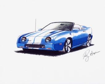Blue Custom Avanti Convertible Print from original drawing