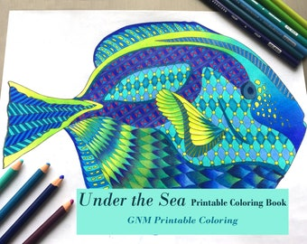 Under the Sea Adult Coloring Book - PDF Digital Download - Printable Coloring Pages