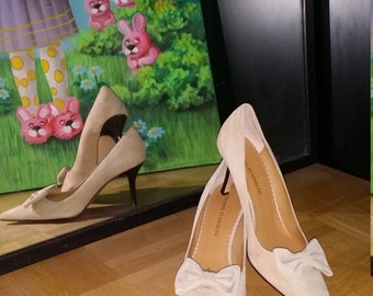 Suede Heels leather shoes, Cognac /beige, high heel,made in Italy, elegant,EU 40, US 8.5 -