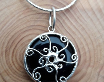 black Onyx necklace 925 Sterling Silver wire setting on silver chain black gemstone pendant can be on a black cord
