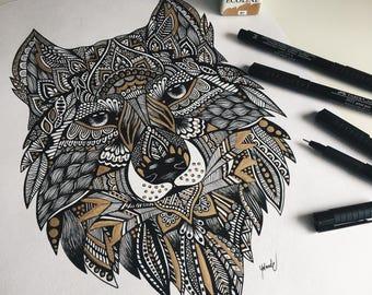 Wolf Print Wolf Art Wolf Wall Art Animal Print Animal Wall Art Mandala Art