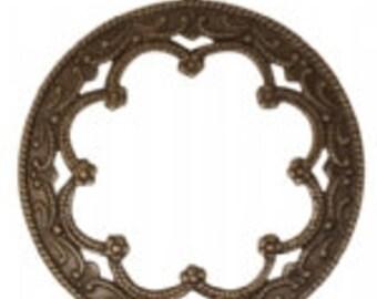 Vintaj 35mm Framed Scrollwork - Natural Brass
