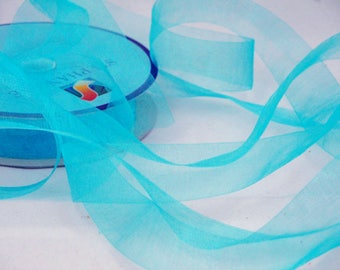 By the yard turquoise blue organza Ribbon