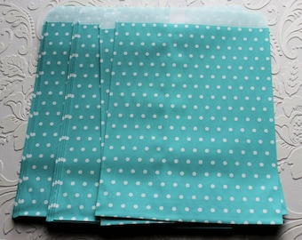 Mini Blue Polka Dot Paper Bag- Gift Bag, Party Favor, Party Supply, Shop Supply, Treat Bag, Merchandise Bags