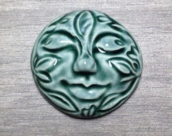 Large Leafy Face Ceramic Cabochon Stone in Peacock