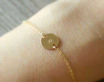 Gold filled sideways disc bracelet, Dainty initial bracelet, Bridesmaid bracelet, Personalized jewelry