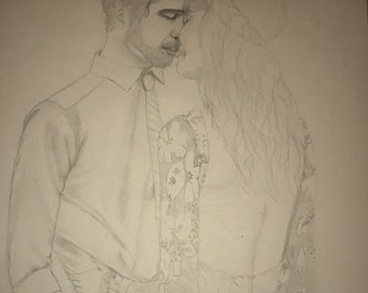 MADE TO ORDER- Custom Drawn Couple/ Wedding Portrait