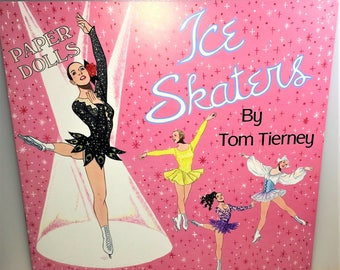 ICE SKATERS Paper Doll Book by Artist Tom Tierney MINT Condition! 3 Skater Dolls + Six Pages of Retro Fashion Skater Outfits Shackman Co