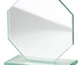 Trophy glass Octagon engraving text or design of your choice. Award, diploma, ceremony