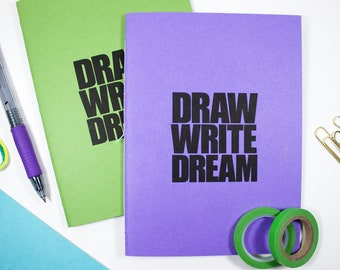 Draw Write Dream Notebook – 5 x 6.75 inch Journal with Lined Pages – Travelers Notebook