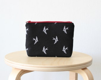 Black swallow print Cosmetic bag, Zipper pouch, Small clutch, School supplies, Birds, Nature