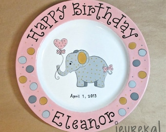"Party Elephant & Polka Dots Birthday Plate - Large 10.5"" Ceramic Plate"