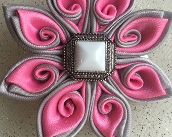 Pink and Gray Swirly Flower Hair Clip
