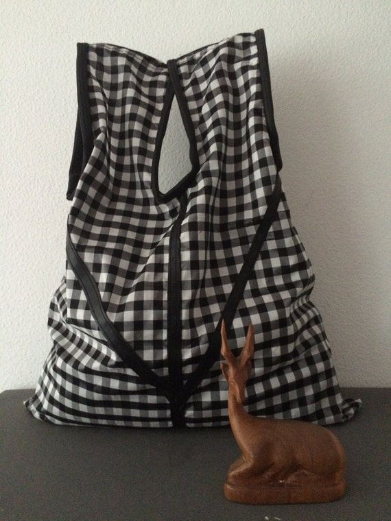 Handmade black white Vichy check totebag shoppingbag bag