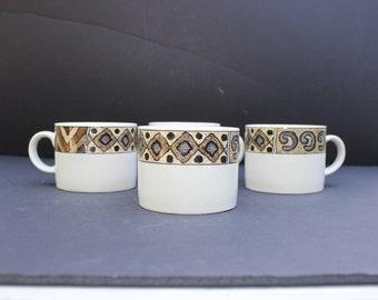 Vintage Stoneware Majestic Ware By Sakura/Set of 4/Stoneware Coffee Mug Set/ Sakura Stoneware/
