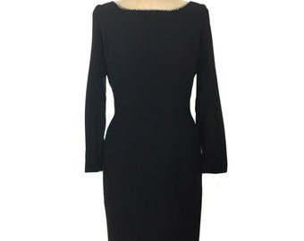 vintage 1960's rhinestone trim wiggle dress / black / Mad Men / form fitting bombshell pinup vlv / women's vintage dress / tag size 15