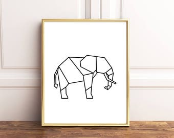 Geometric elephant, Elephant print, Geometric elephant print, Minimalist poster, Elephant art, Elephant wall art, Elephant poster, Geometric