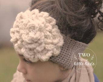Crochet Pattern, crochet ear warmer pattern, crochet headband pattern, ear warmer w/flower, sizes toddler, child, adult, CAMDYN EAR WARMER