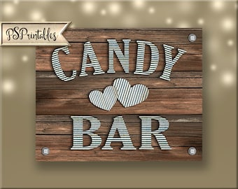 Candy Bar Sign - DIY instant download - rustic industrial barnwood galvanized metal wedding - sierra collection