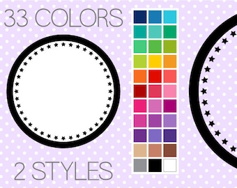 Star Circle Digital Frames 1 - Round Clipart Frames - Printable Labels - Instant Download - Commercial Use