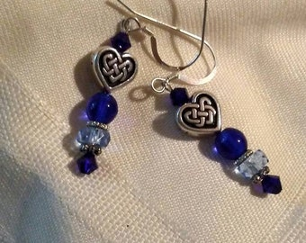 Cobalt blue and sterling silver pierced earrings with Celtic knot heart beads.