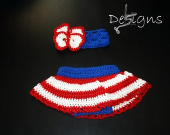 Crochet Baby Fourth of July Outfit/4th of July/Baby Skirt/Baby Headband/Baby Girl